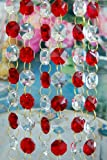 3 Feet Long of Red & Clear Lead Glass Crystal Octagon Chandelier Prisms Pedants Parts