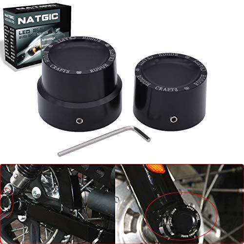 NATGIC Black CNC Aluminum RC Rear Axle Nut Cover Bolt Kit for Harley Sportster XL883 XL1200 - Set