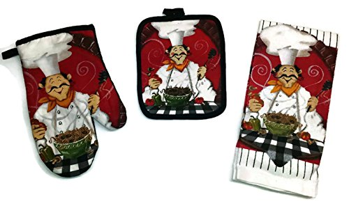 Pot Holder Cafe (Spaghetti Chef With Tomatoes And Peppers Design Linen 3 Piece Bundle Package Oven Mitt (1) Pot Holder (1) Kitchen Towels (1) (#4323) )