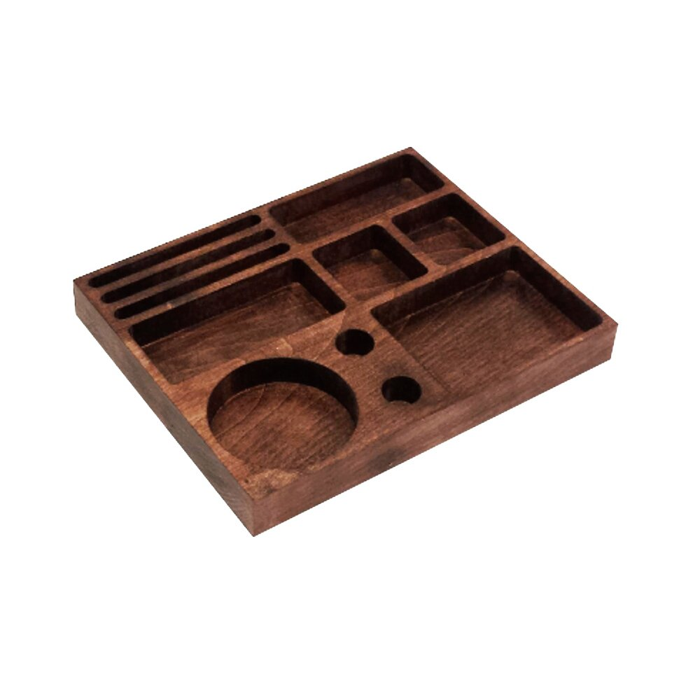 Airtight Herb Stash Box with Raw Rolling Tray, Lock and Mirror, Removable Trays, Handcrafted Wooden Weed Container for Smoking Marijuana or Tobacco, Red Leaf Tokebox, Made in USA by Tokebox
