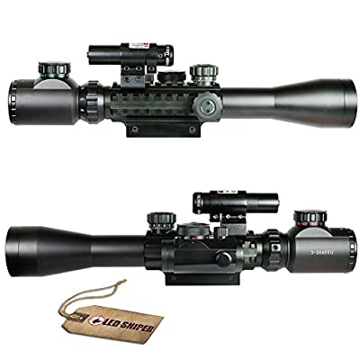 Ledsniper®super Hot 3-9x40 Mil Dot Tactical Rifle Scope with Red Laser & Holographic Dot Sight