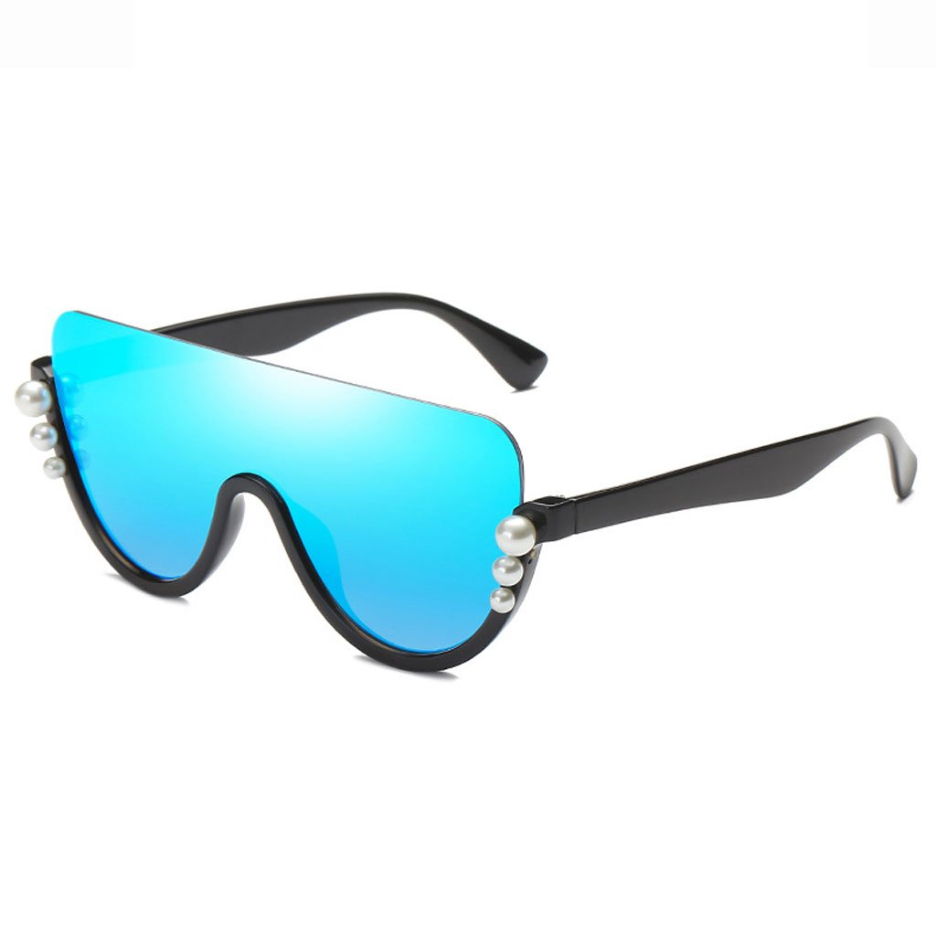 Black frame bluee lens Sunglasses, Sunglasses colorful Half Frame Casual Fashion Clothing with Shopping Driving Photography Comfortable AntiGlare Radiation Ladies Predective Glasses Polarized Shade Glasses