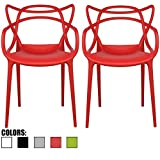 2xhome - Set of 2 - Red Dining Room Chairs - Modern Contemporary Designer Designed Popular Home Office Work Indoor Outdoor Armchair Living Family Room Kitchen ?