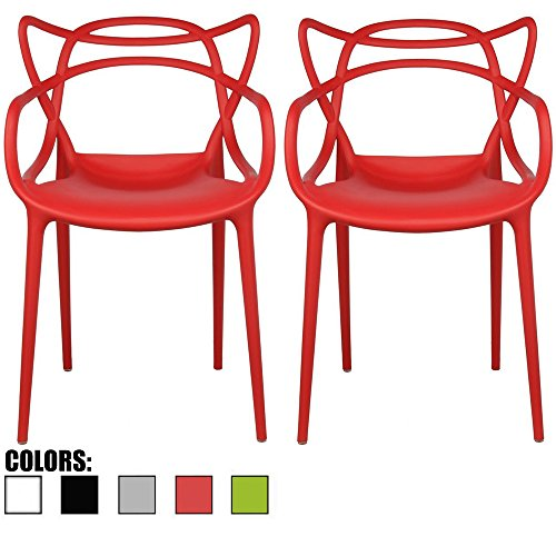2xhome Set of 2 Red Stackable Contemporary Modern Designer Wire Plastic Chairs with Arms Open Back Armchairs for Kitchen Dining Chair Outdoor Patio Bedroom Accent Balcony Office Work Garden Home