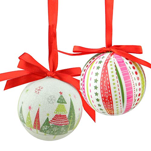 (Northlight 7-Piece Whimsical Red, White and Green Decoupage Shatterproof Christmas Ball Ornament Set 2.75