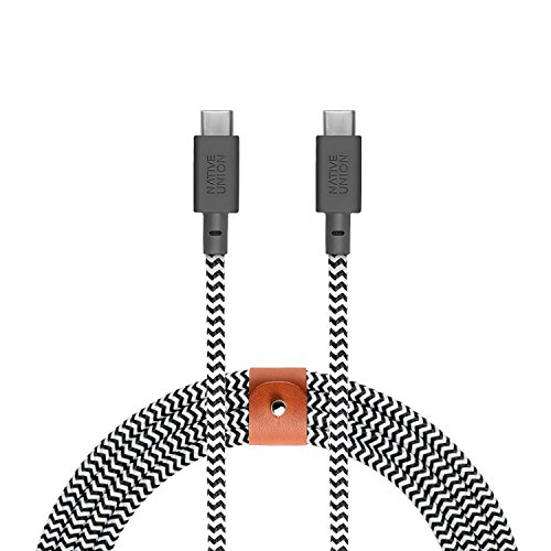 Native Union Belt Cable USB-C to USB-C - 8ft Ultra-Strong Cable with Leather Strap for Samsung Galaxy Note 9 / S9, Sony XZ, LG V20 / G7, HTC 10 / U12+, Google Pixel 2/3 and More (Zebra)