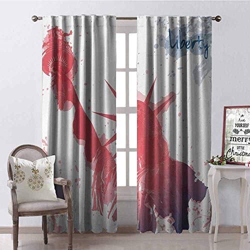 GloriaJohnson 4th of July Blackout Curtain Watercolor Lady Liberty Silhouette with Paint Splashes Independence 2 Panel Sets W100 x L84 Inch Dark Coral Pale Blue