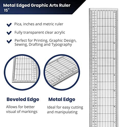 Pacific Arc Clear Graphic Arts Acrylic Ruler With Metal Edge 15 Inches