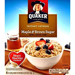 Quaker Instant Oatmeal Cereal, Maple and Brown Sugar, 60.6 Ounce
