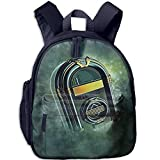 Haixia Students Boy's&Girl's Backpack with Pocket Jukebox Abstract Grunge Antique Radio Music Box On Blurry Backdrop Print Full Forest Green Yellow and White