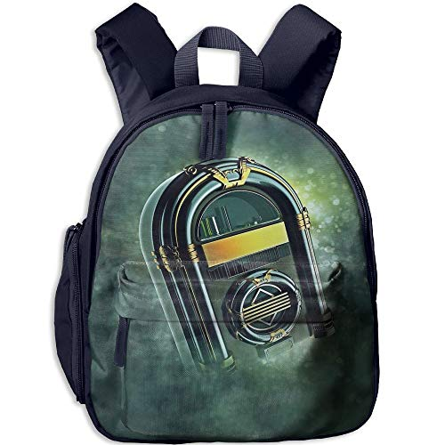 Haixia Students Boy's&Girl's Backpack with Pocket Jukebox Abstract Grunge Antique Radio Music Box On Blurry Backdrop Print Full Forest Green Yellow and White by Haixia