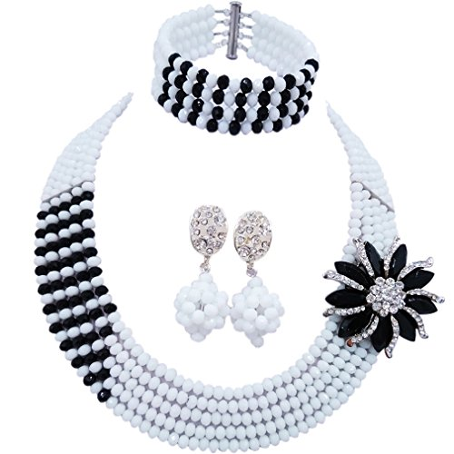 aczuv 5 Rows Nigerian Beads Jewelry Set African Beads Necklace Wedding Party Jewelry Sets (White Black) -