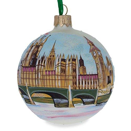 Inside Paint Glass Ornaments - Big Ben, London, UK Glass Ball Christmas Ornament 3.25 Inches