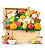 GiftTree Fresh Fruit and Gourmet Delight Gift Basket | Includes Pears, Apples, Fresh Juicy Oranges, Savory Cheese, Charcuterie And More