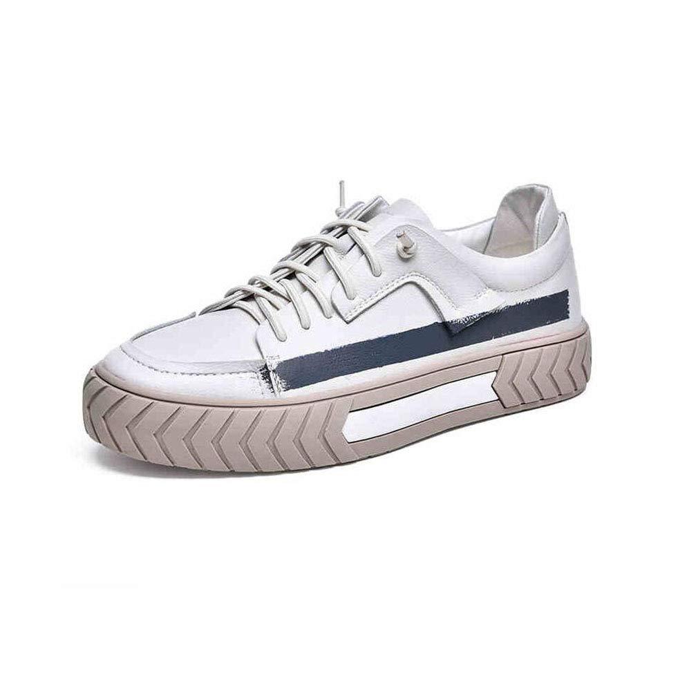 ECSD Herrenschuhe Casual Casual Casual Sportschuhe Mikrofaser PU Board Schuhe, Dicke Unterseite (3-5cm), Weiß (größe   EU42 UK8.5 CN43) e4b359