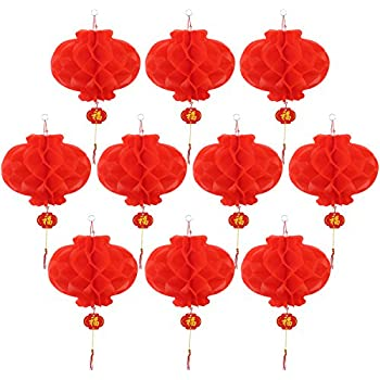 Masterchinese 10 inches chinese spring festival wedding red pangda 10 pack lanterns decorations red for chinese new year spring festival wedding restaurant decoration junglespirit Choice Image