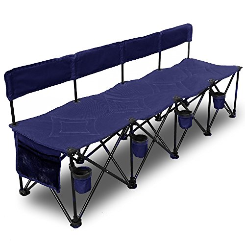 GoTEAM! Multi Seat Portable Folding Team Bench 4 Seat - With Backrest