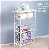 SCROLL DESIGN BATH ABTHROOM TABLE TOILET TISSUE MAGAZINE HOLDER