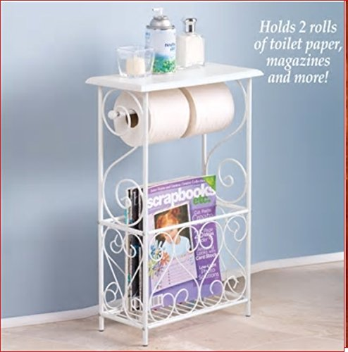(SCROLL DESIGN BATH ABTHROOM TABLE TOILET TISSUE MAGAZINE HOLDER)