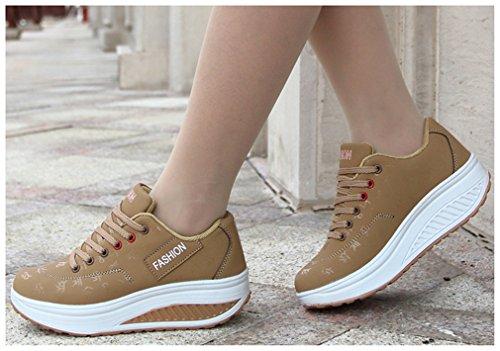 NEWZCERS Las señoras que funcionan los zapatos de los deportes de los amaestradores atan para arriba los zapatos de gimnasio atléticos marrón