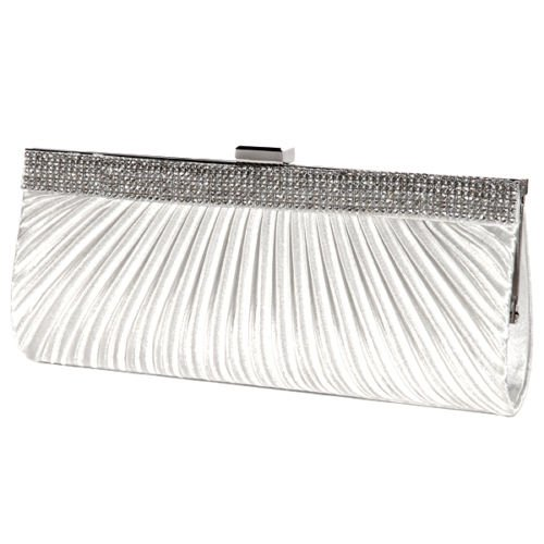 The Pecan Man Ivory SATIN CRYSTAL DIAMANTE Pleated Designer Ladies Wedding Bridal Prom Clutch Evening Bag - Crystal Valentino