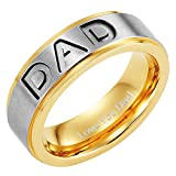 Men's DAD Titanium 7mm Ring Engraved Love You Dad with Gift Pouch by Willis Judd