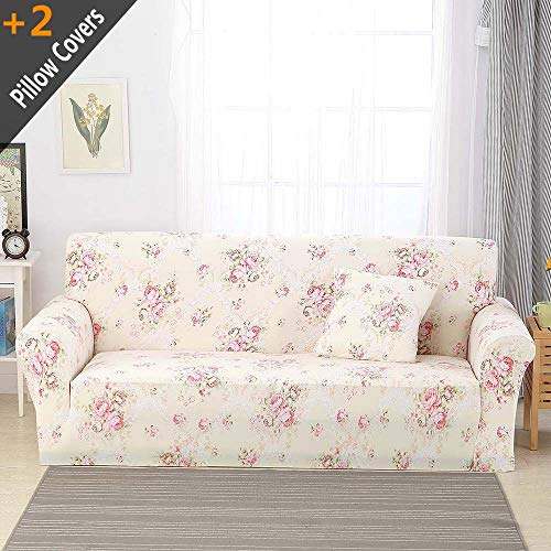 """iisutas Stretch Couch Covers Sofa Slipcovers Fitted Cover Seat Furniture Protector with Two Pillow Case (90""""-110"""" Big Sofa, Garden City) from iisutas"""