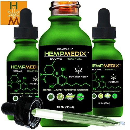 Hempmedix Hemp Oil Cannabis Sativa Oil 500Mg Pure High Potency Full Spectrum Therapeutic Grade Hemp Oil Extract