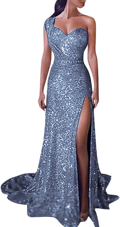 iLPM20 Damenmode Sexy Würdige Elegante Pailletten Abendkleid Ärmelloses Tüll  Hohe Dünne Formale Abend Langes Kleid Partykleid Wunderschöne Trailing