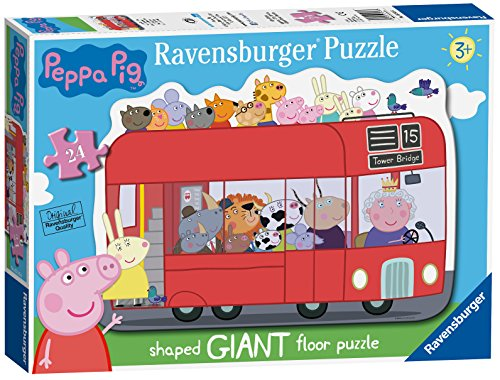 (Ravensburger Peppa Pig London Bus, 24pc Giant Shaped Floor Jigsaw Puzzle)
