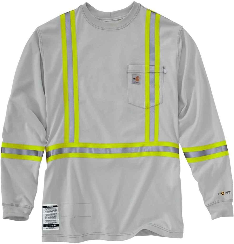 Carhartt Men's FR Striped Force Cotton Long Sleeve T-Shirt Medium Light Gray