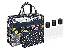 Modella Dandy Dot Tulip Collection Cosmetic Fitted Weekender 5-piece Set