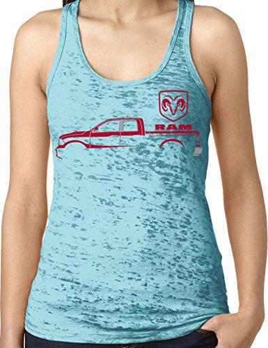 Amdesco Ladies Ram Trucks, Red Truck Silhouette Burnout Racerback Tank Top, Tahiti Blue Large ()