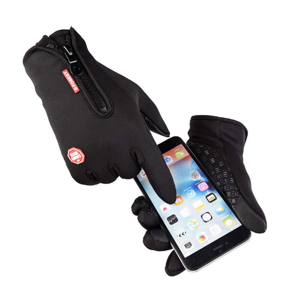 Trifycore Guantes impermeables a prueba de viento ciclismo Guantes de invierno al aire libre ajustable con cremallera pantalla táctil Ejecución de guantes calientes (Negro, XL) (Negro) X (L), Guantes de invierno al aire libre