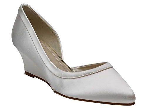 c71893a11a1b Rainbow Club Edna - Open Waisted Ivory Satin Bridal Wedge Shoes ...
