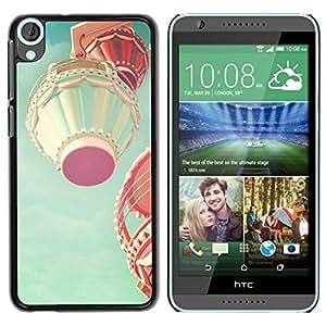 Be Good Phone Accessory // Dura Cáscara cubierta Protectora Caso Carcasa Funda de Protección para HTC Desire 820 // Hot Air Balloon Teal Pink Peach Vintage