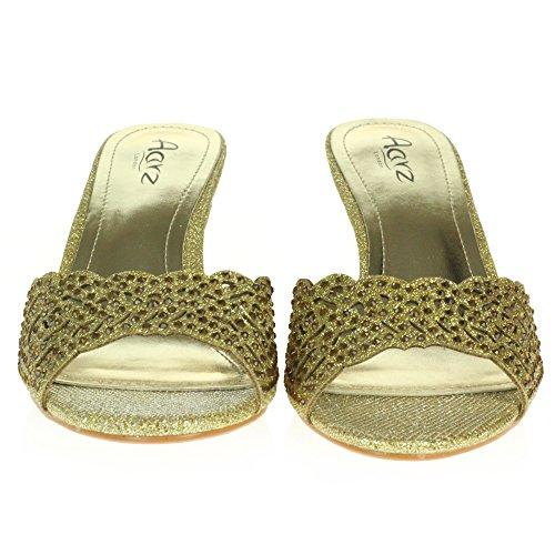 Party Medium Heel Ladies Evening on Prom Size Wedding Slip LONDON Womens Shoes Diamante AARZ Gold Sandals Crystal Bwv0zwSq