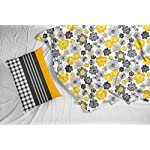 Loreto – A Quality Linen Brand 144 TC 100% Cotton Double Bedsheet with 2 Pillow Covers – Floral Yellow & Grey