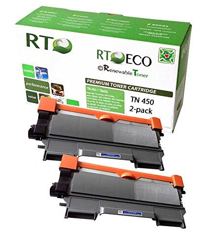 Renewable Toner Compatible Toner Cartridge Replacement for Brother TN450 TN-450 HL-2270DW 2280DW 2230 2240 2240D MFC-7860DW 7360N DCP-7065DN (Black, 2-Pack)