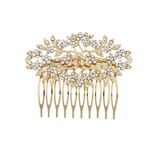 Lux Accessories Goldtone and Rhinestone Bridal Bride Flower Vines Hair Comb