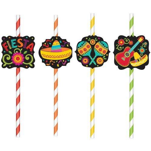 Amscan 460392 Disposable Paper Straws, 9″, Multicolor