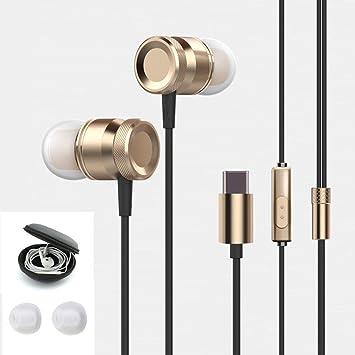 Auriculares con micrófono Antfees USB tipo C para manos libres con sonido estéreo de alta fidelidad sin pérdida gracias a funda de transporte dorado