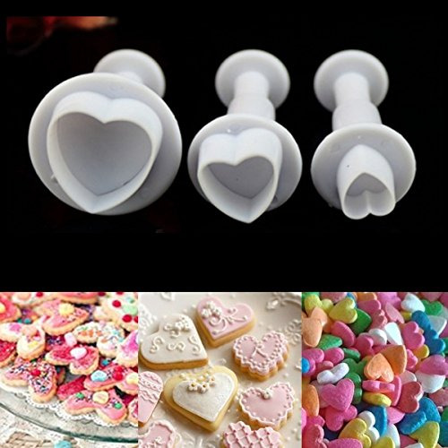 Cookie Cutter Mini Xmas Round Heart Fondant Embossing Cake Cookies Biscuit Pastry Sugar Craft Plunger Cutter Decorate Silicone Mold Tool (3pcs Heart Shape) (Clay Cutters Circle With Plungers compare prices)