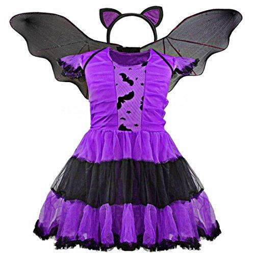Bat Ballerina Costume (iiniim Kids Girls Halloween Cosplay Costume Princess Bat Dress with Wing and Headband 4-5)