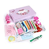 Skelang Paper Quilling Kit DIY Paper Crafts with 820 Strips &30 Rose Rolls & 16 Tools & 1 Storage Box &4 Paper Cards Great for Home Decoration, Birthday Present and Christmas Gift