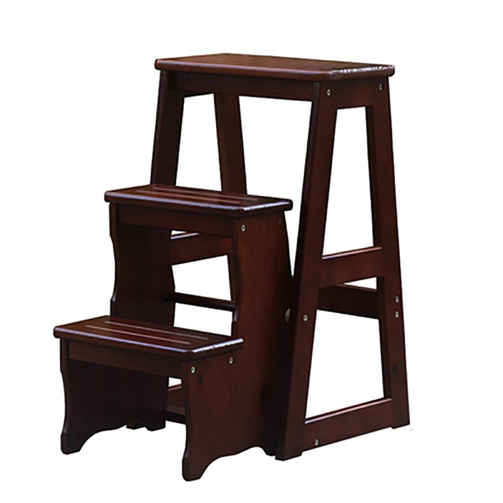 はしご便 3層折り畳み可能なはし台スツール木製ベンチ多機能ポータブル階段スツール (色 : Deep walnut color) B07F3L6Z9H Deep walnut color Deep walnut color