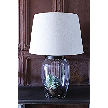 round clear glass fillable base table lamp w shade country home lighting d. Black Bedroom Furniture Sets. Home Design Ideas
