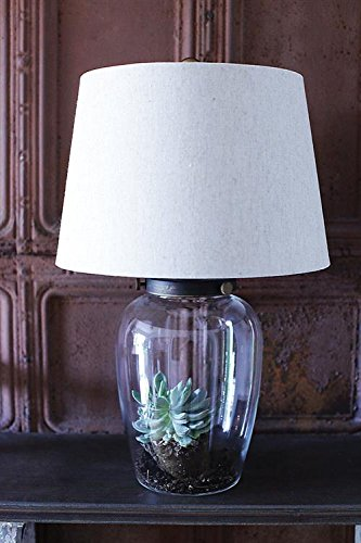 Round Clear Glass Fillable Base Table Lamp W Shade Country Home