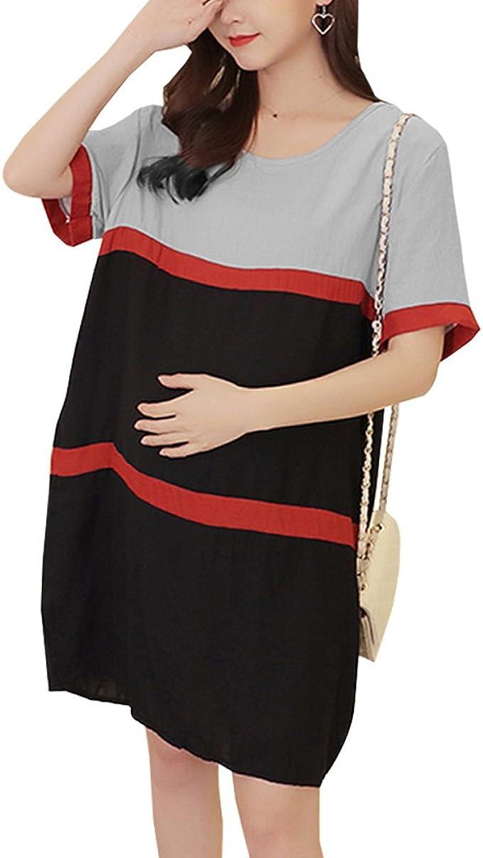 YIHIGH Embarazo Vestido Lactancia Mujer - Moda Cómodo Algodón ...