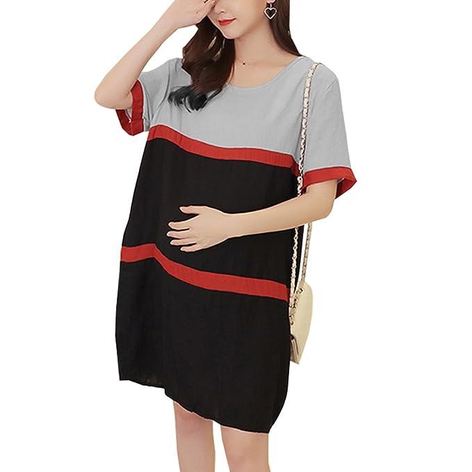 YIHIGH Embarazo Vestido Lactancia Mujer - Moda Cómodo Algodón Premamá Blusa Maternidad Camiseta Vestidos, Negro